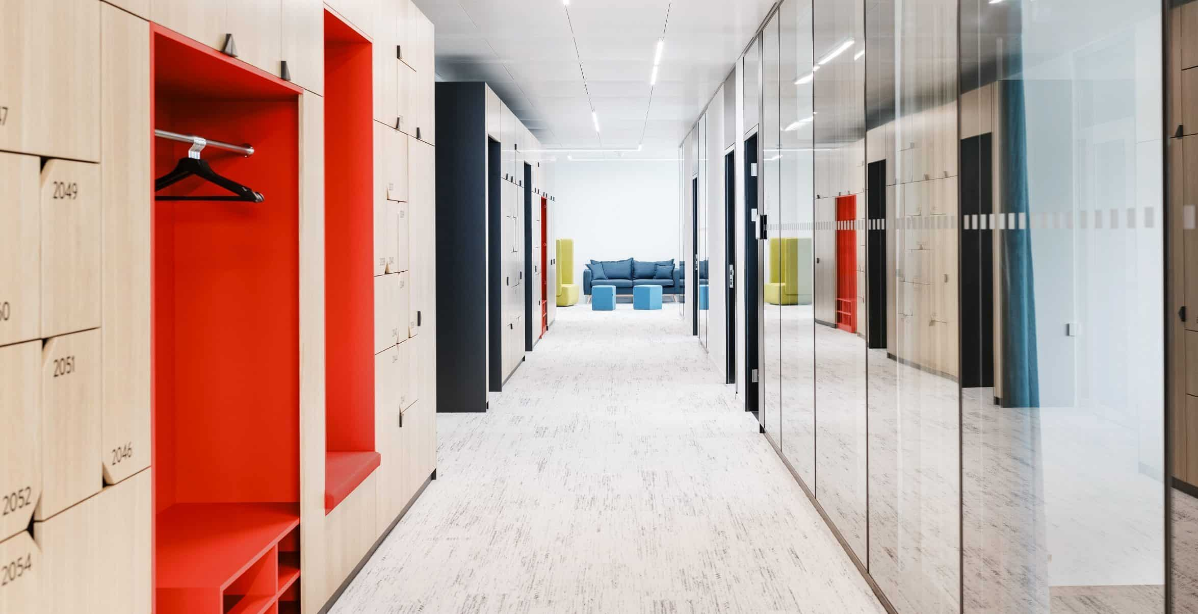 smart office corridor with smart solutions which can improve the day-to-day life of employees